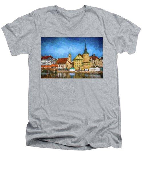 Swiss Town Men's V-Neck T-Shirt by Pravine Chester