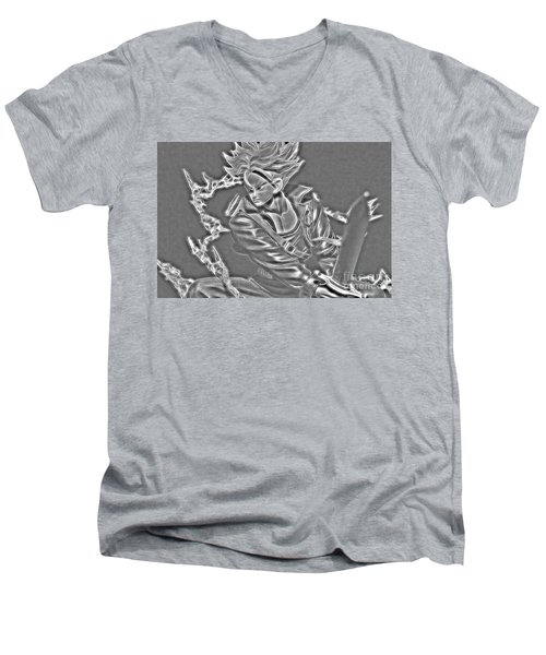 Men's V-Neck T-Shirt featuring the digital art Sword Rush Trunks by Ray Shiu