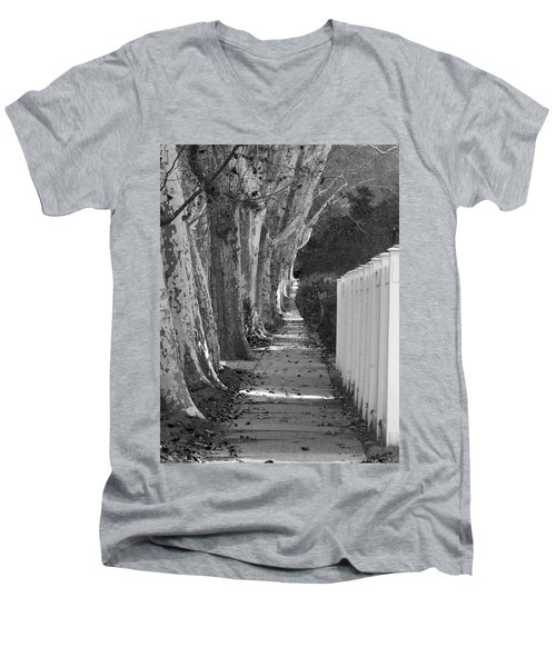 Sycamore Walk-grayscale Version Men's V-Neck T-Shirt