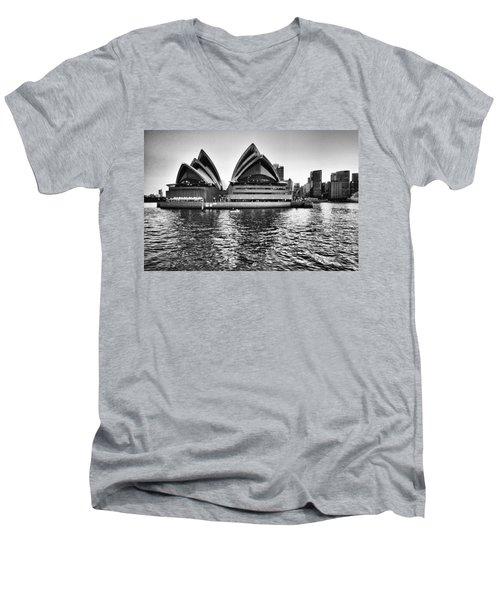 Sydney Opera House-black And White Men's V-Neck T-Shirt by Douglas Barnard