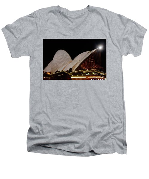 Men's V-Neck T-Shirt featuring the photograph Sydney Opera House Close View 2 By Kaye Menner by Kaye Menner