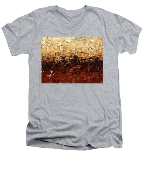 Men's V-Neck T-Shirt featuring the painting Symphony by Carmen Guedez