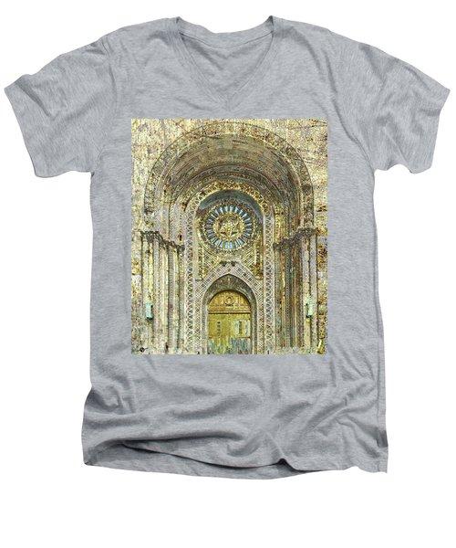 Men's V-Neck T-Shirt featuring the mixed media Synagogue by Tony Rubino