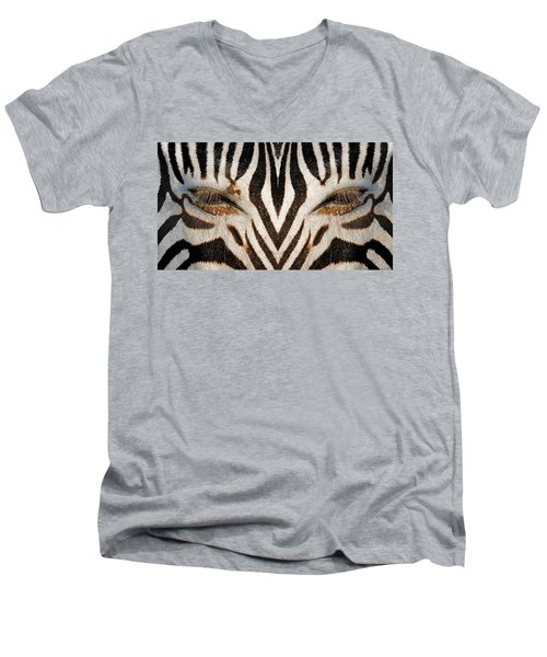 Synthetic Zebra Men's V-Neck T-Shirt