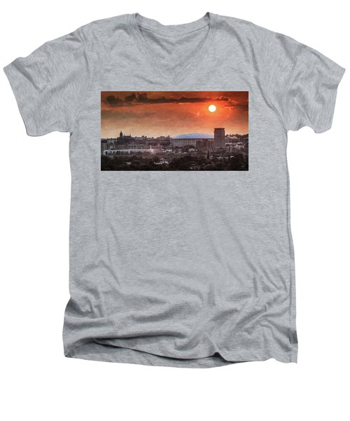 Syracuse Sunrise Over The Dome Men's V-Neck T-Shirt by Everet Regal