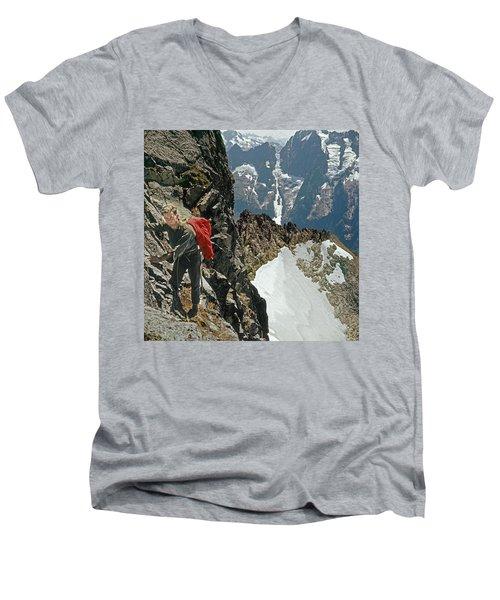 T-04403 Walt Buck Sellers On First Ascent Of Mt. Torment Men's V-Neck T-Shirt