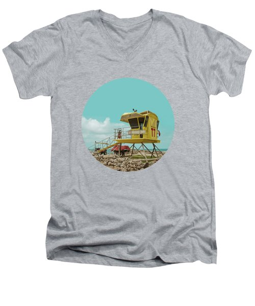 T7 Lifeguard Station Kapukaulua Beach Paia Maui Hawaii Men's V-Neck T-Shirt