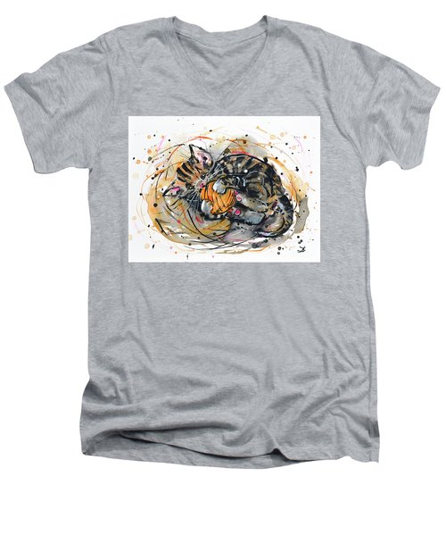 Men's V-Neck T-Shirt featuring the painting Tabby Kitten Playing With Yarn Clew  by Zaira Dzhaubaeva