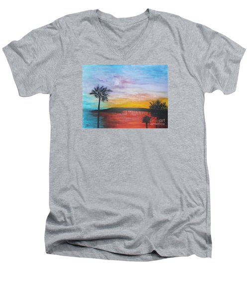 Table On The Beach From The Water Series Men's V-Neck T-Shirt by Donna Dixon