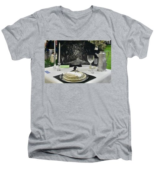 Tablescape Men's V-Neck T-Shirt by Helen Haw