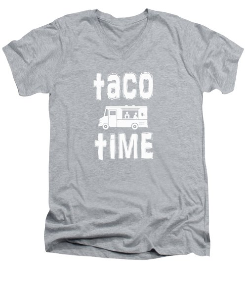Taco Time Food Truck Tee Men's V-Neck T-Shirt by Edward Fielding