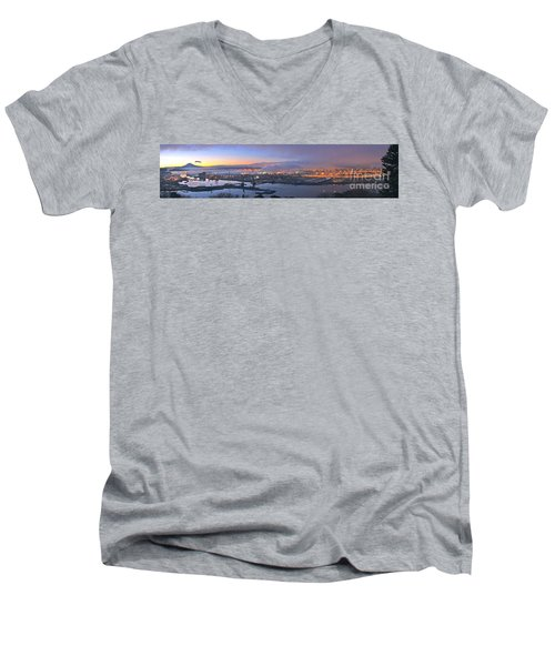 Men's V-Neck T-Shirt featuring the photograph Tacoma Dawn Panorama by Sean Griffin