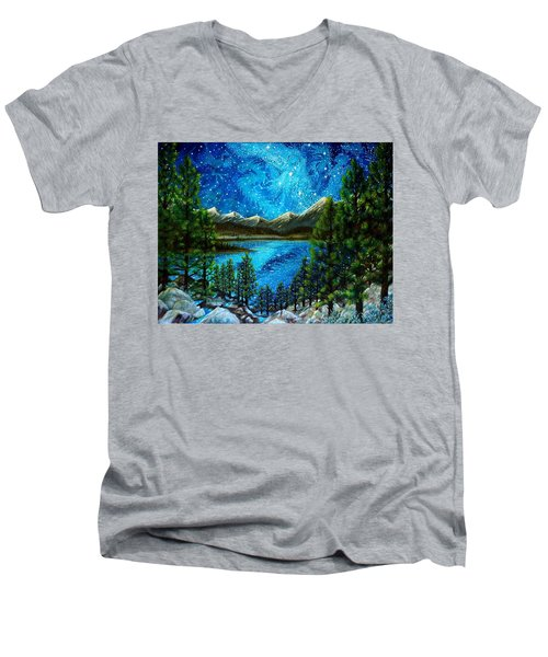 Men's V-Neck T-Shirt featuring the painting Tahoe A Long Time Ago by Matt Konar