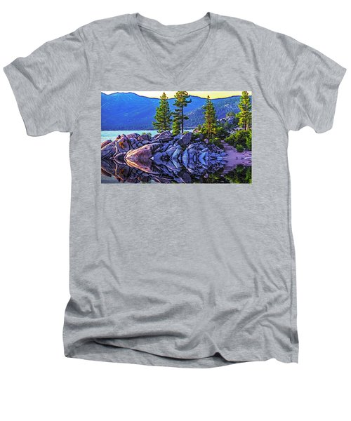 Tahoe Water Reflections Men's V-Neck T-Shirt by Nancy Marie Ricketts