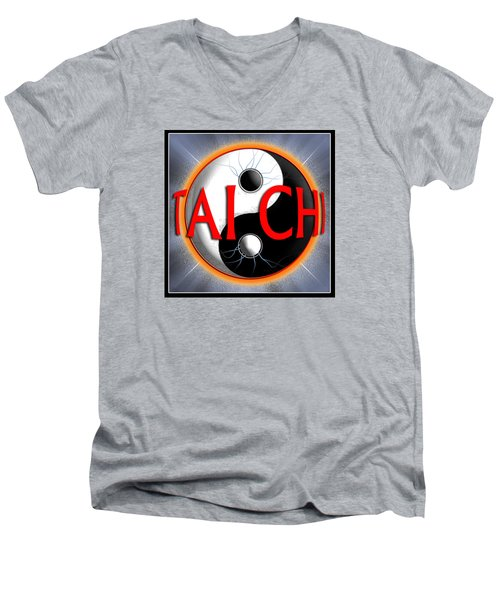 Men's V-Neck T-Shirt featuring the digital art Tai Chi by Steve Sperry