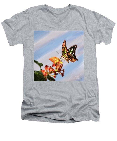 Tail Jay On Scarlet Milkweed Men's V-Neck T-Shirt