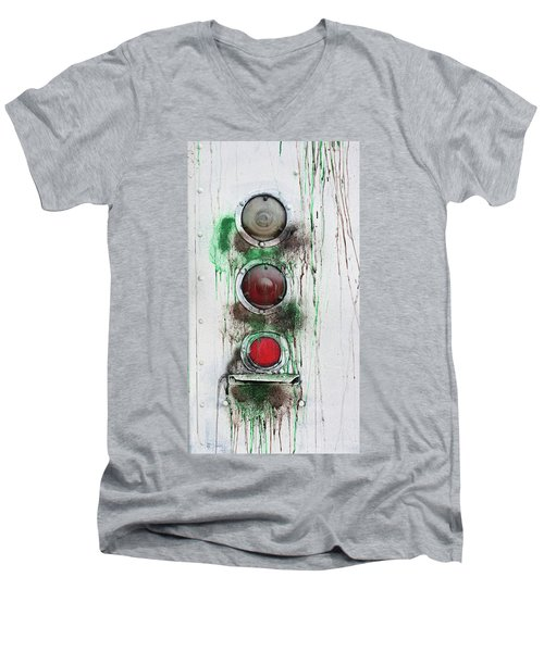 Men's V-Neck T-Shirt featuring the photograph Taillights On A Very Old Bus by Gary Slawsky