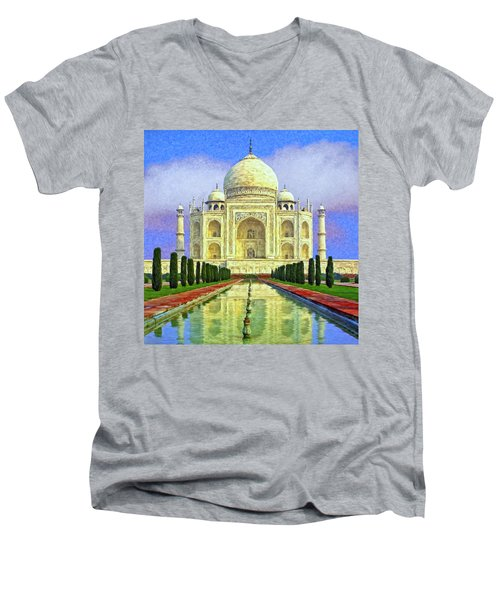 Taj Mahal Morning Men's V-Neck T-Shirt by Dominic Piperata