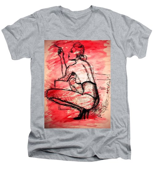 Men's V-Neck T-Shirt featuring the painting Take Five  by Jarko Aka Lui Grande