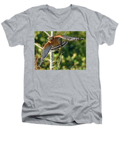 Men's V-Neck T-Shirt featuring the photograph Take Off by Don Durfee