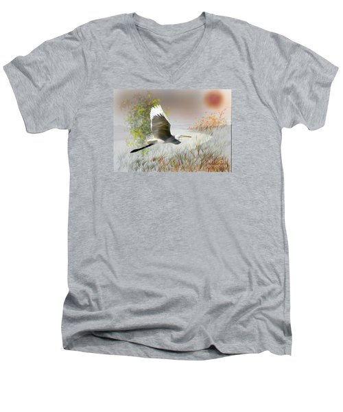 Men's V-Neck T-Shirt featuring the photograph Take Off by Gary Bridger