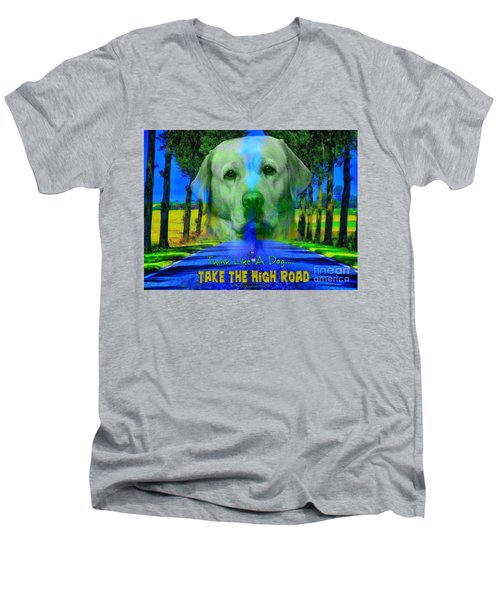 Men's V-Neck T-Shirt featuring the digital art Take The High Road by Kathy Tarochione