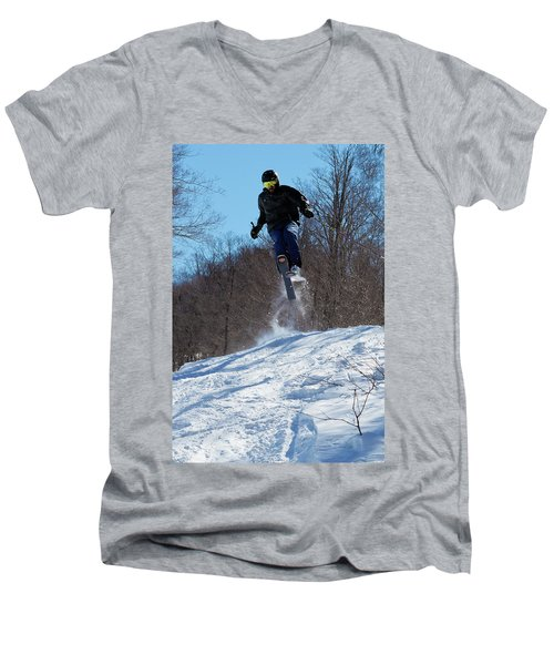 Men's V-Neck T-Shirt featuring the photograph Taking Air On Mccauley Mountain by David Patterson