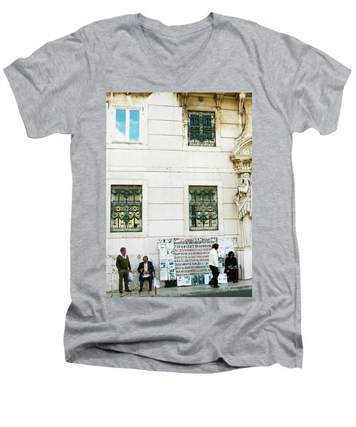 Men's V-Neck T-Shirt featuring the photograph Taking It To The Streets by Lorraine Devon Wilke