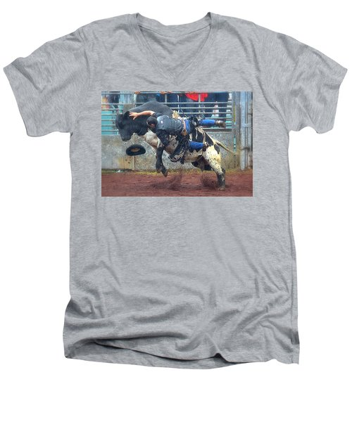 Men's V-Neck T-Shirt featuring the photograph Taking The Fall by Lori Seaman