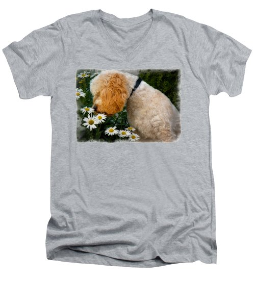 Taking Time To Smell The Flowers Men's V-Neck T-Shirt by Susan Candelario