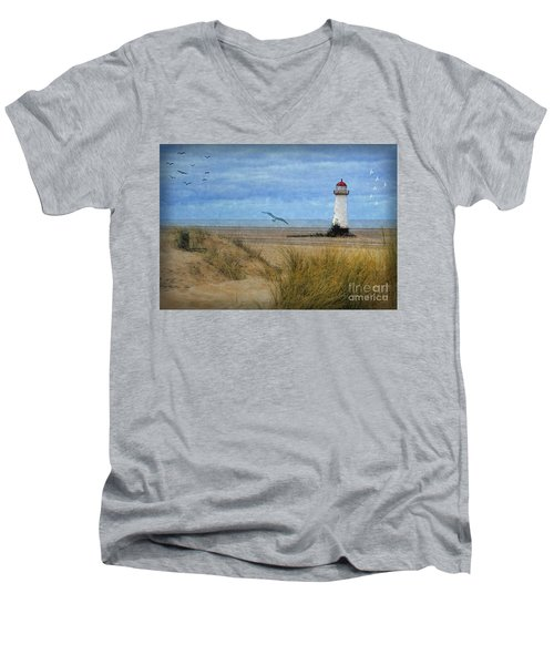 Men's V-Neck T-Shirt featuring the digital art Talacre Lighthouse - Wales by Lianne Schneider