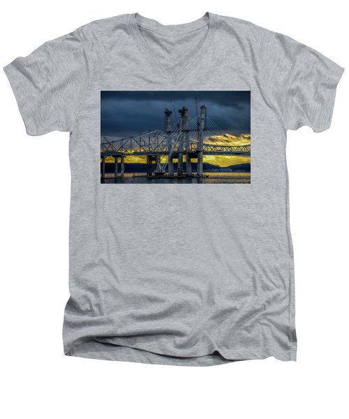Tale Of 2 Bridges At Sunset Men's V-Neck T-Shirt by Jeffrey Friedkin