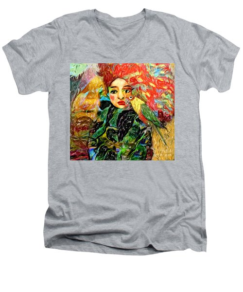 Men's V-Neck T-Shirt featuring the digital art Talk To Me by Alexis Rotella