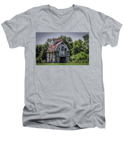 Men's V-Neck T-Shirt featuring the photograph Tall Barn by Ray Congrove
