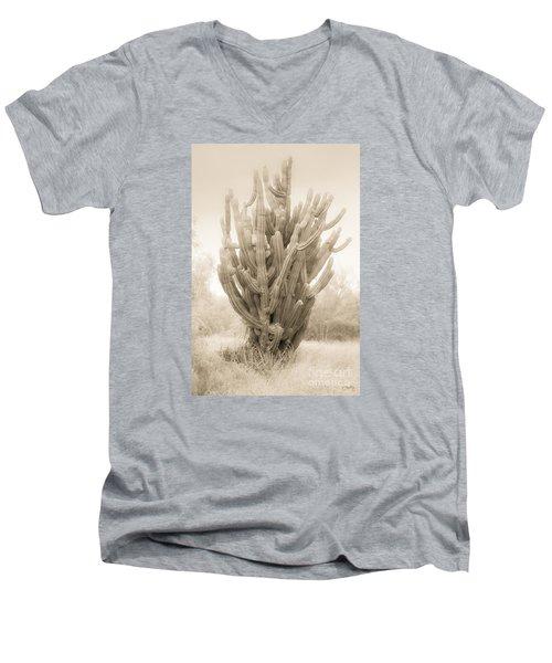 Tall Cactus In Sepia Men's V-Neck T-Shirt