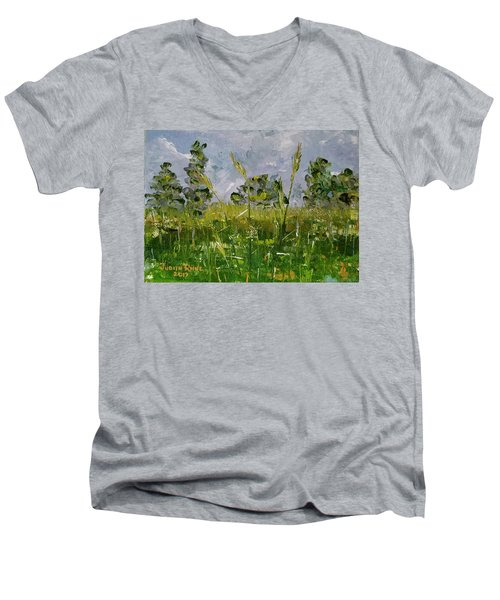 Men's V-Neck T-Shirt featuring the painting Tall Grass by Judith Rhue