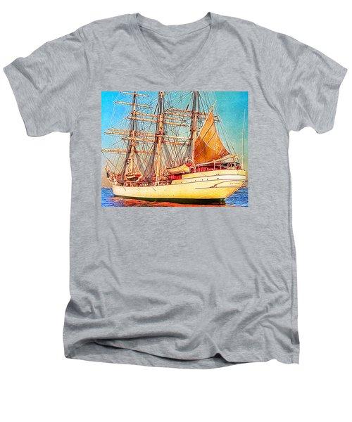 Tall Ship Men's V-Neck T-Shirt