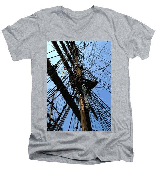 Tall Ship Design By John Foster Dyess Men's V-Neck T-Shirt