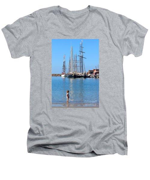 Tall Ship Festival Men's V-Neck T-Shirt by Cheryl Del Toro