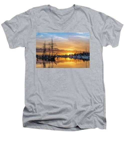Tall Ships Sunset 1 Men's V-Neck T-Shirt