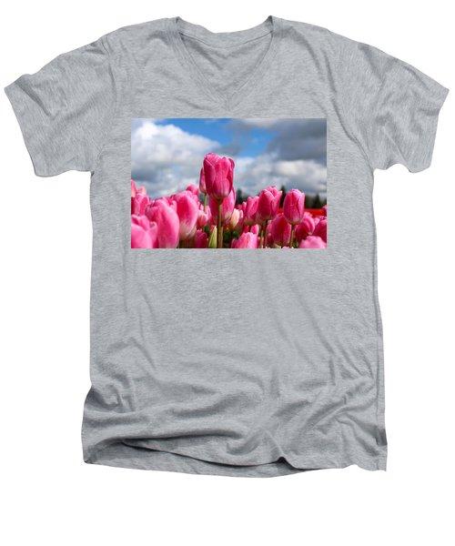 Tall Standing Tulip Men's V-Neck T-Shirt