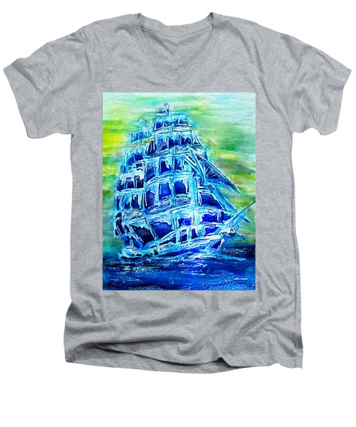 Tallship Alcohol Inks Men's V-Neck T-Shirt