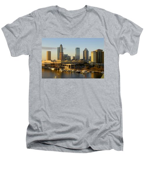 Tampa Bay And Gasparilla Men's V-Neck T-Shirt by David Lee Thompson