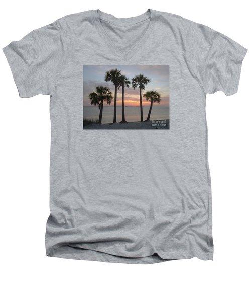 Tampa Bay Sunset Men's V-Neck T-Shirt by Gail Kent