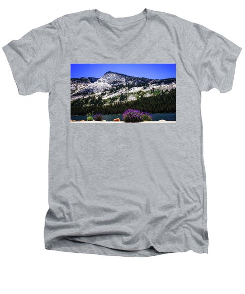 Tanaya Lake Wildflowers Yosemite Men's V-Neck T-Shirt