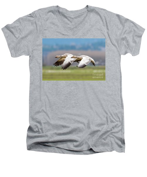 Men's V-Neck T-Shirt featuring the photograph Tandem Glide by Mike Dawson