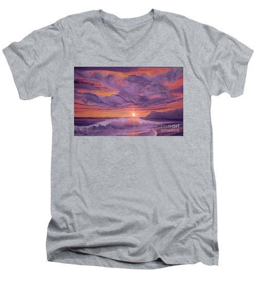 Tangerine Sky Men's V-Neck T-Shirt by Holly Martinson