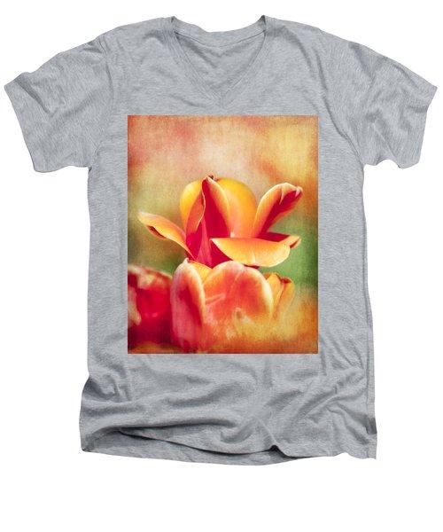 Tangerine Tulip Sorbet Men's V-Neck T-Shirt