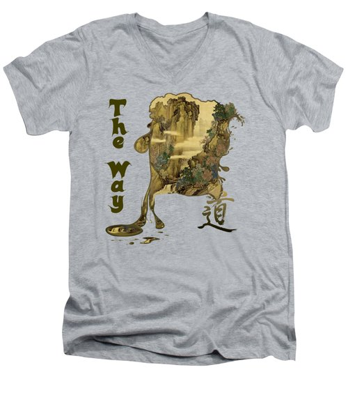 Men's V-Neck T-Shirt featuring the painting Tani Buncho Chi by Robert G Kernodle