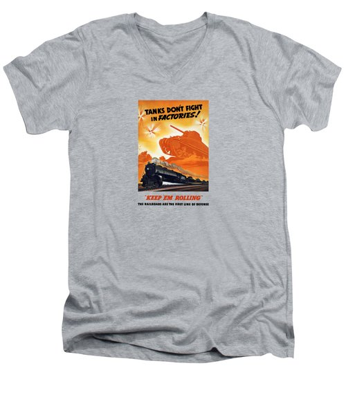 Tanks Don't Fight In Factories Men's V-Neck T-Shirt by War Is Hell Store